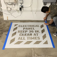Keep clear of electrical panel stencil