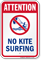 Attention No Kite Surfing Water Safety Sign