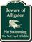 Beware Of Alligator, No Swimming Signature Sign