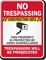 Construction Area Video Surveillance No Trespassing Sign
