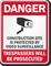 Construction Site Video Surveillance Danger Sign