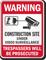 Construction Site Video Surveillance Warning Sign
