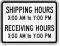Personalized Shipping/Receiving Hours Sign