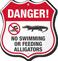 Danger No Swimming Or Feeding Alligators Shield Sign
