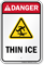 Danger Thin Ice Water Safety Sign