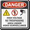 High Voltage No Trespassing Video Surveillance Sign