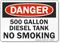 500 Gallon Diesel Tank No Smoking Sign