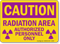 Caution Radiation Area Authorized Personnel Only Sign