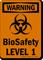 Biosafety Level 1 OSHA Biohazard Warning Sign