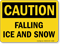 Caution Falling Ice Snow Sign