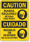 Caution Masks Required Beyond This Point Bilingual SpanishFace Mask Safety Sign