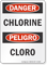 Chlorine Bilingual OSHA Danger Sign