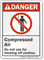 Compressed Air Do Not Use For Blowing Danger Sign