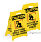 Caution Confined Space Reversible Fold-Ups Floor Sign