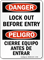 Lock Out Before Entry Bilingual Sign