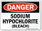 OSHA Danger Sodium Hypochlorite Sign