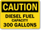 Gallons Diesel Fuel Capacity Sign
