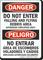 Do Not Enter Flying Debris Bilingual Danger Peligro Sign