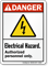Electrical Hazard Authorized Personnel Only ANSI Danger Sign