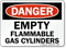 OSHA Danger - Empty Flammable Gas Cylinders Sign
