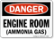 Engine Room Ammonia Gas Danger Sign