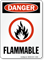 Flammable Danger Sign With Fire Graphic