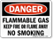 Flammable Gas Keep Fire Away No Smoking Sign