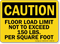 Floor Load Limit 150 Lbs Caution Sign