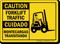 Bilingual Forklift Traffic / Montecargas Transitando Caution Sign