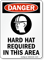 Danger: Hard Hat Required (graphic) Sign
