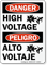 Bilingual Peligro Alto Voltaje High Voltage Sign
