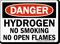Danger Hydrogen Smoking Flames Sign