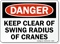 Danger Clear Swing Radius Cranes Sign