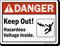 Keep Out Hazardous Voltage Inside Sign
