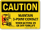 Maintain 3-Point Contact When Getting Off Forklift Sign