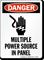 Multiple Power Source In Panel Osha Danger Sign