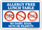 No Dairy Eggs Nuts Peanuts Allergy Free Lunch Table Sign