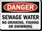 Sewage Water No Drinking, Fishing, Swimming Sign