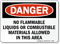 No Flammable Liquids or Combustible Materials Sign