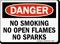 Danger No Smoking No Open Flames Sparks Sign