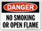 Danger No Smoking Open Flame Sign