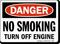 Danger No Smoking Off Engine Sign