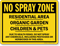 No Spray Zone Residential Area Sign