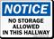 No Storage Allowed In Hallway Notice Sign