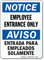 Notice Employee Entrance Bilingual Sign