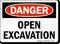 Open Excavations OSHA Danger Sign
