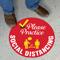Please Practice Social Distancing SlipSafe Floor Sign