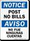Post No Bills Bilingual Sign