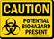 Potential Biohazard Present OSHA Caution Sign