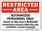 Restricted Area: Authorized Personnel Only Sign